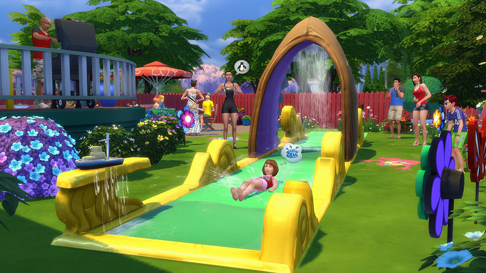 The Sims - Whee! Check out the Lawn Water Slide in The Sims 4 Backyard Stuff - Official Site